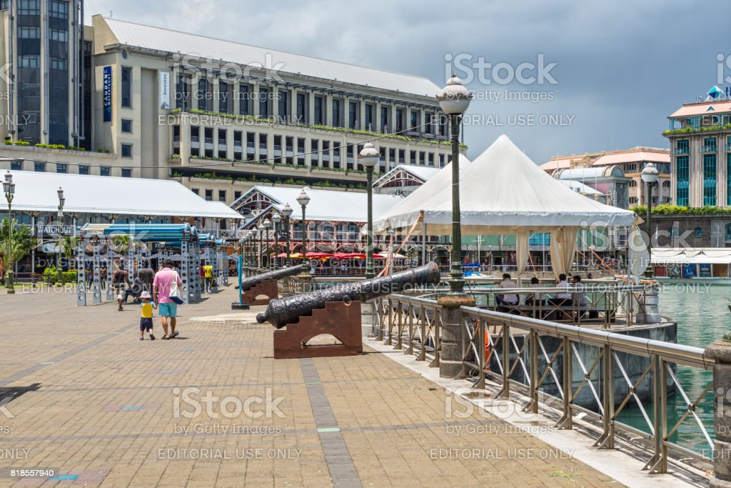 Caudon Waterfront at the harbour in Port Louis, Mauritius stock photo