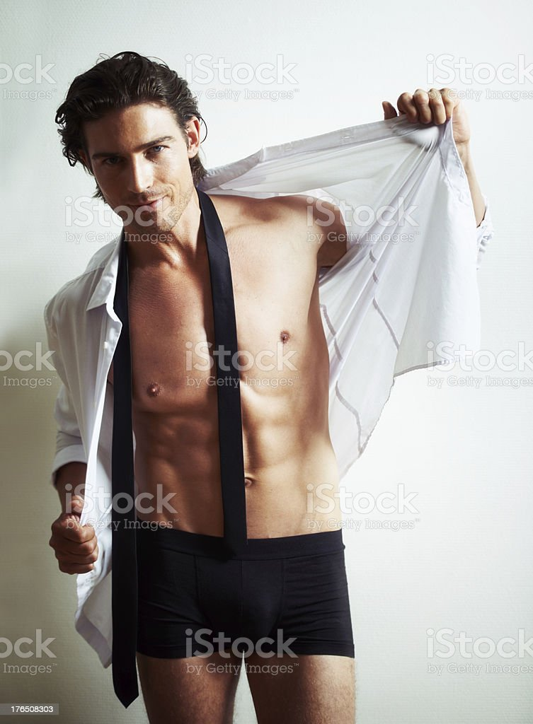 Caught in a state of undress stock photo