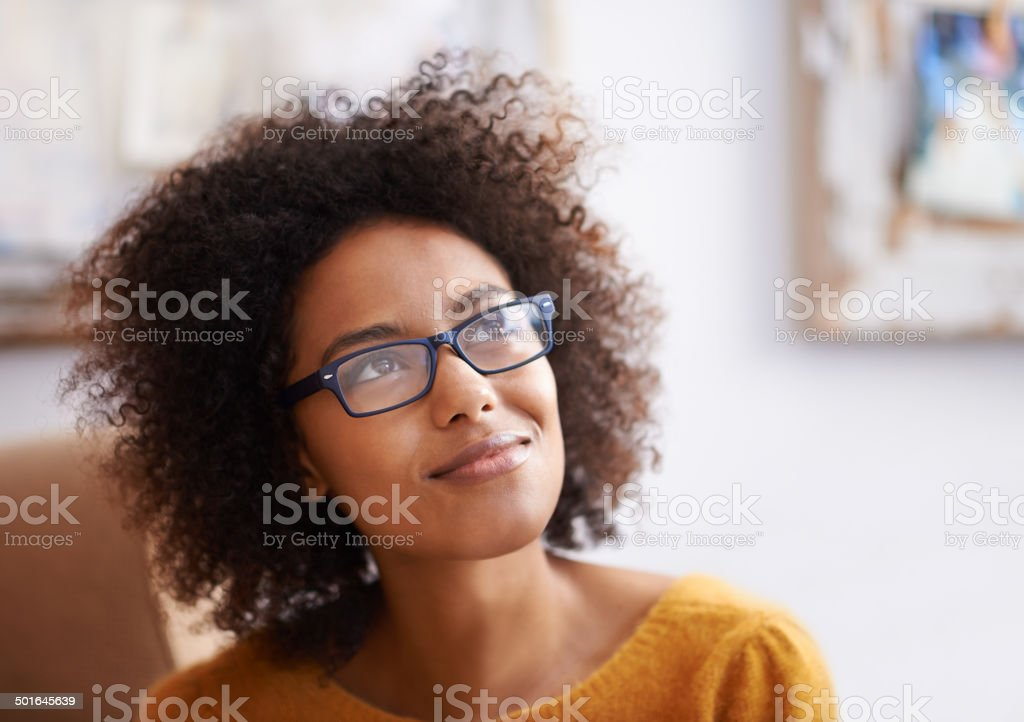 Caught in a thought stock photo