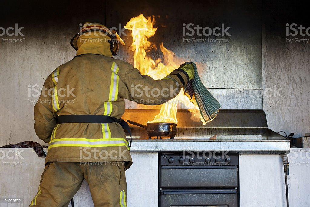 Caught on fire stock photo