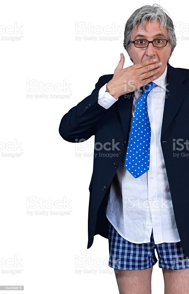 Caught with his pants down. stock photo