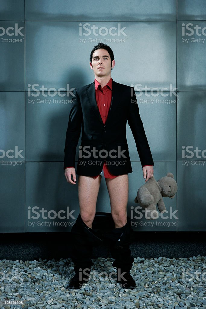 Caught with pants down royalty-free stock photo