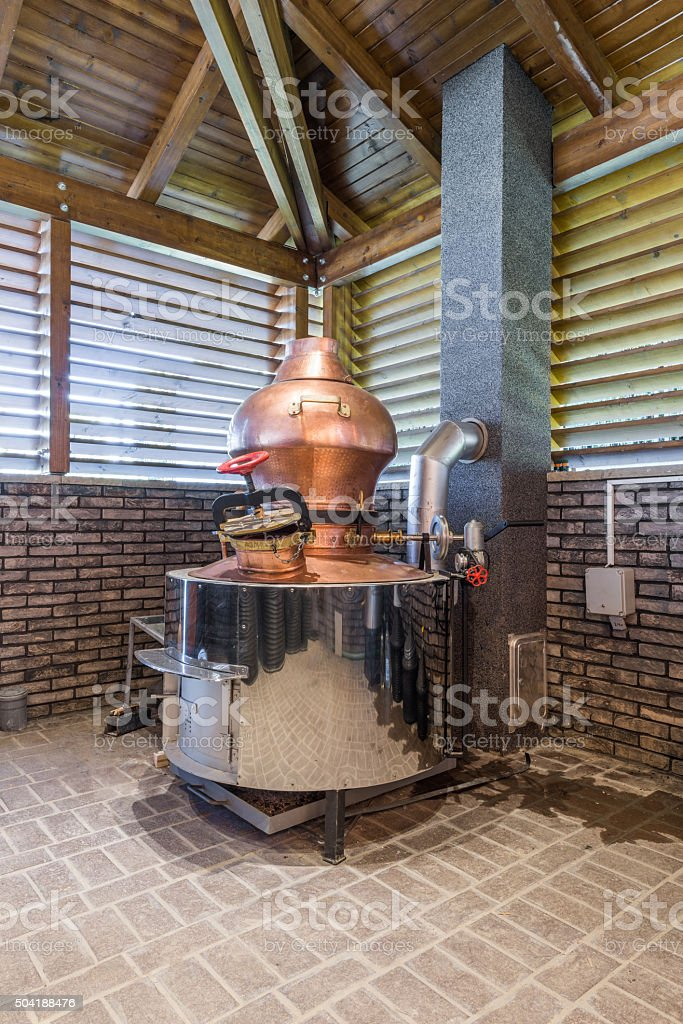 Cauldron for brandy stock photo