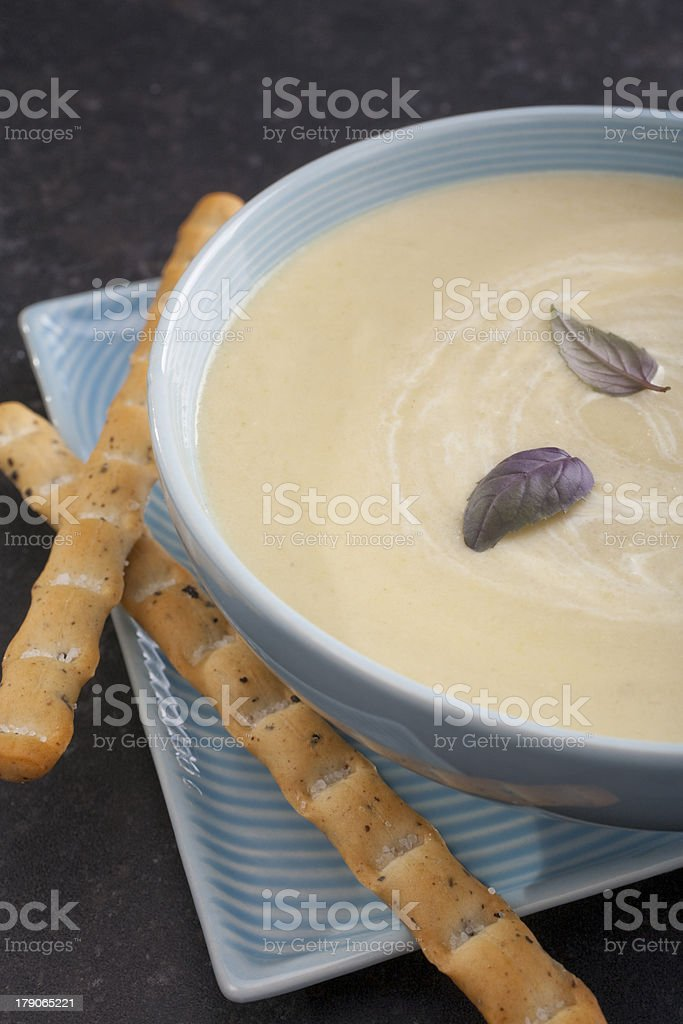 Caulflower Soup with Breadsticks royalty-free stock photo