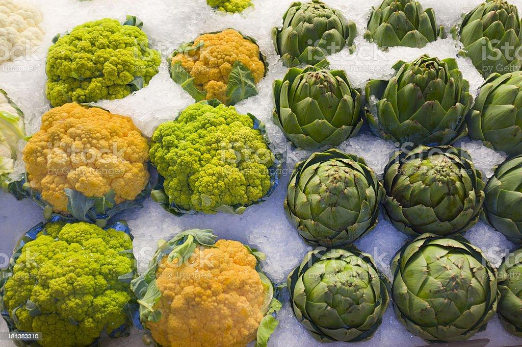 Cauliflower and Artichoke royalty-free stock photo