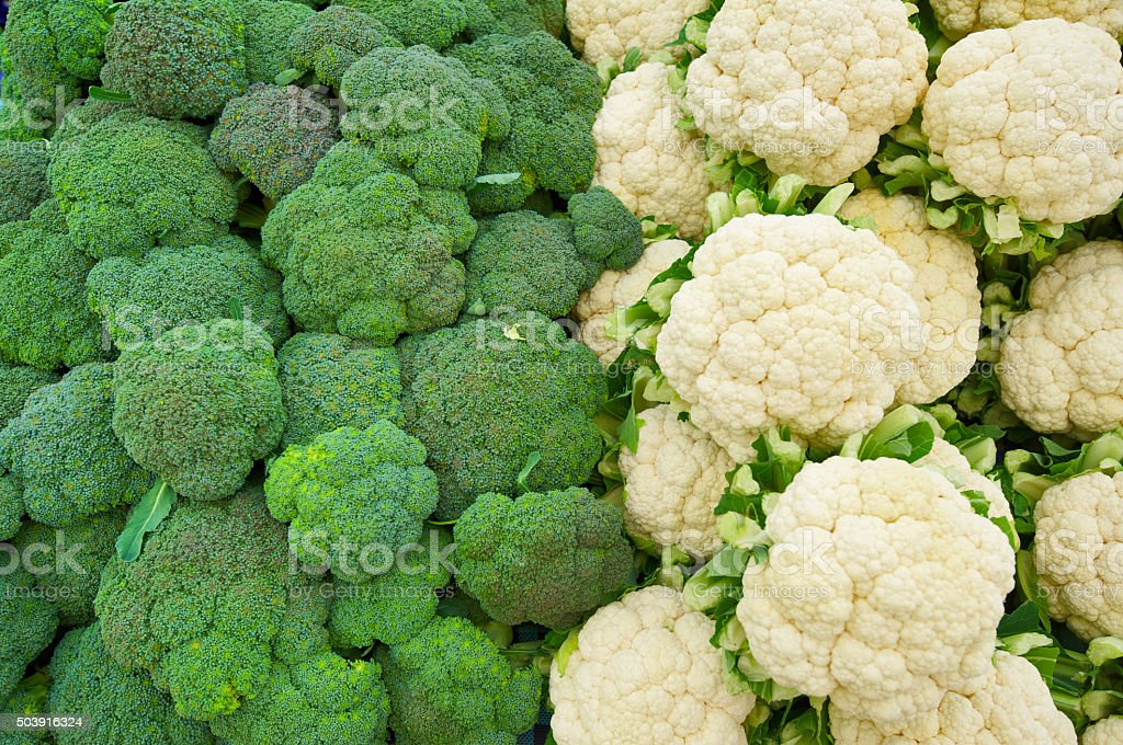 cauliflower and broccoli background stock photo