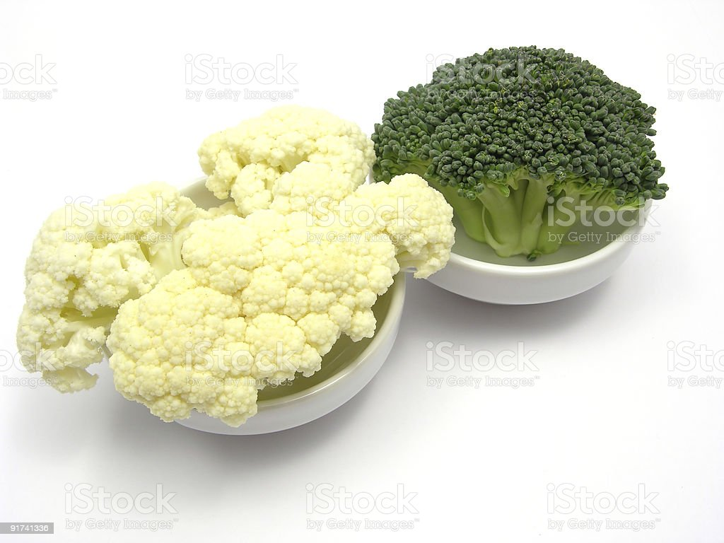 Cauliflower and broccoli inn little bowls of chinaware royalty-free stock photo