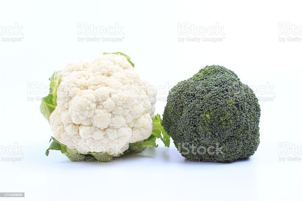 Cauliflower and broccoli stock photo