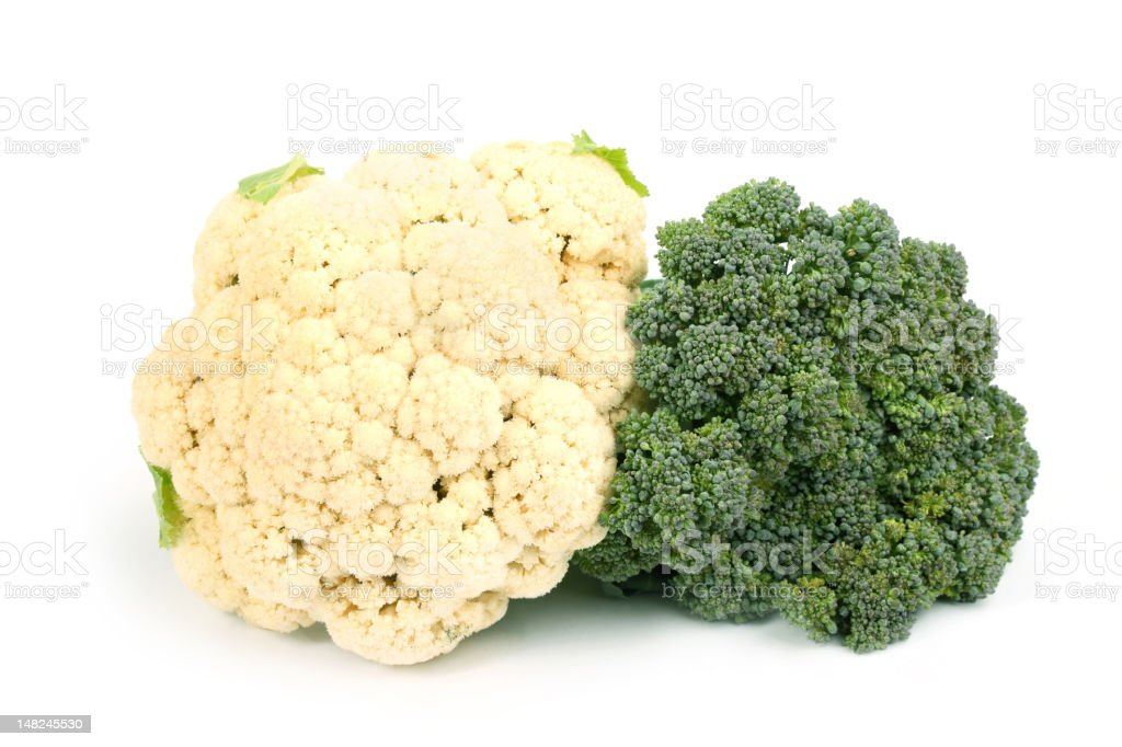 Cauliflower and broccoli together stock photo