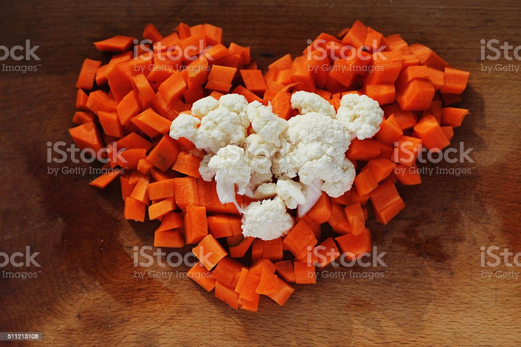 cauliflower and carrot heart royalty-free stock photo