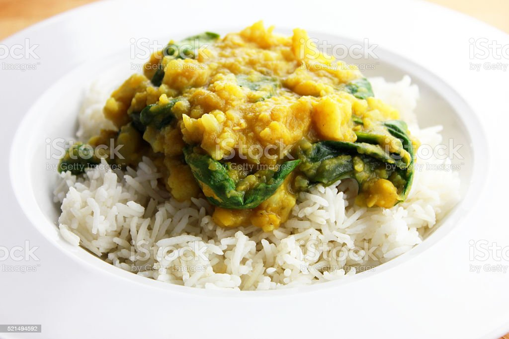 Cauliflower and Spinach Dal stock photo