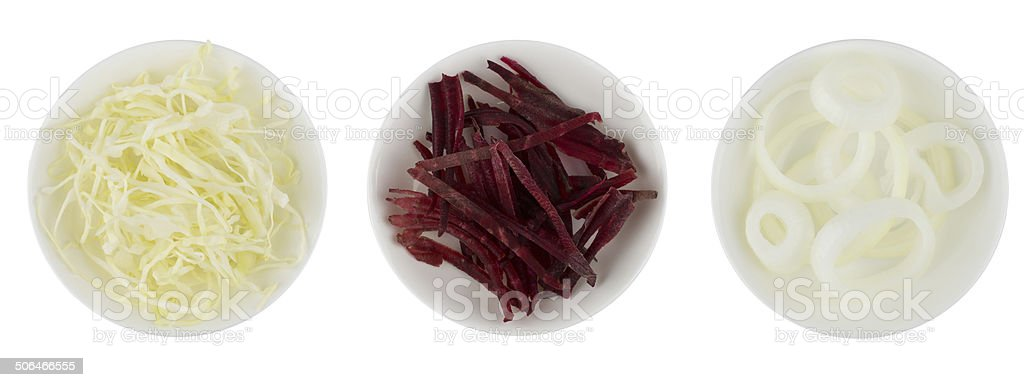 Cauliflower, beetroot and onion in white bowl stock photo
