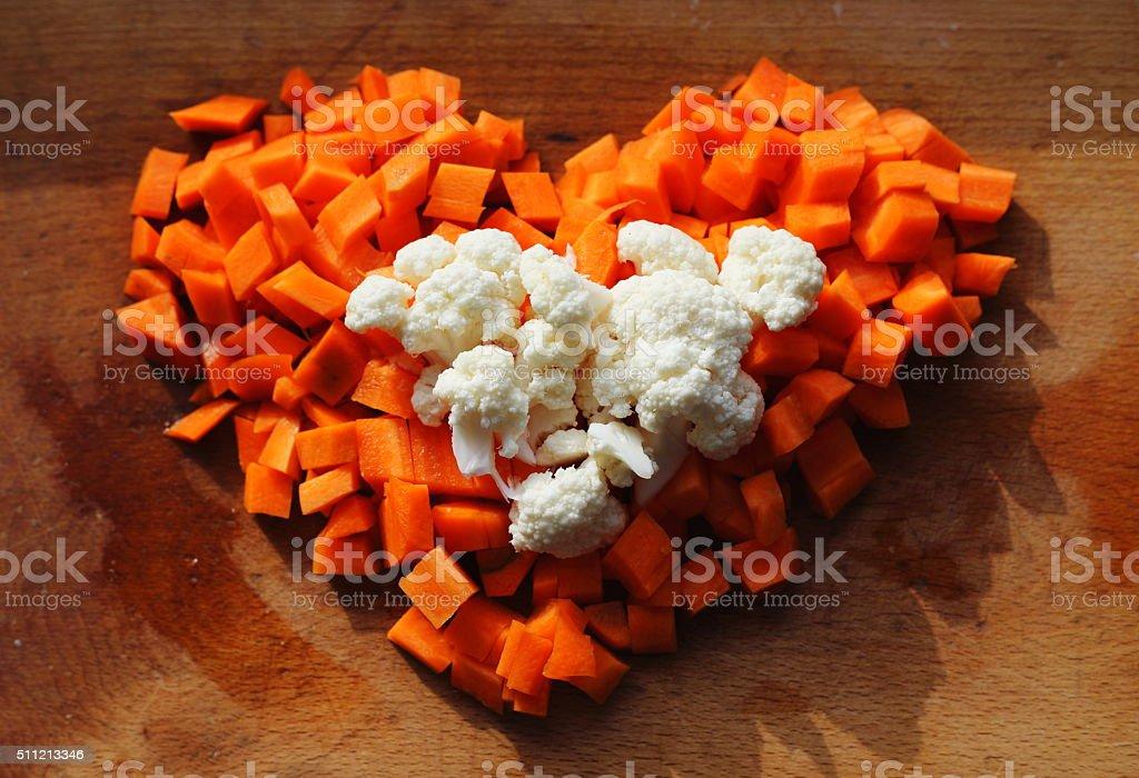 cauliflower carrot heart royalty-free stock photo