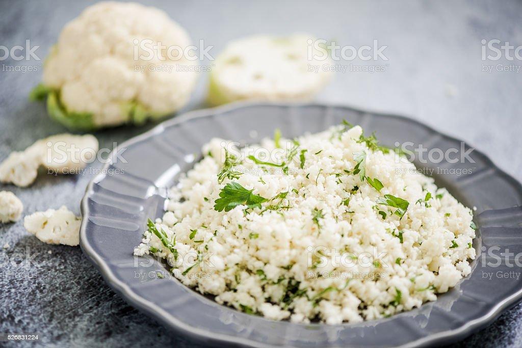 Cauliflower couscous, alternative food stock photo