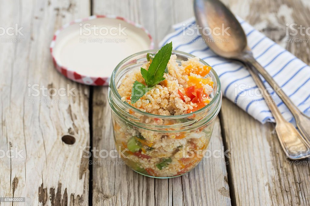 Cauliflower couscous salad in a glas stock photo