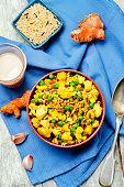 cauliflower green peas turmeric rice