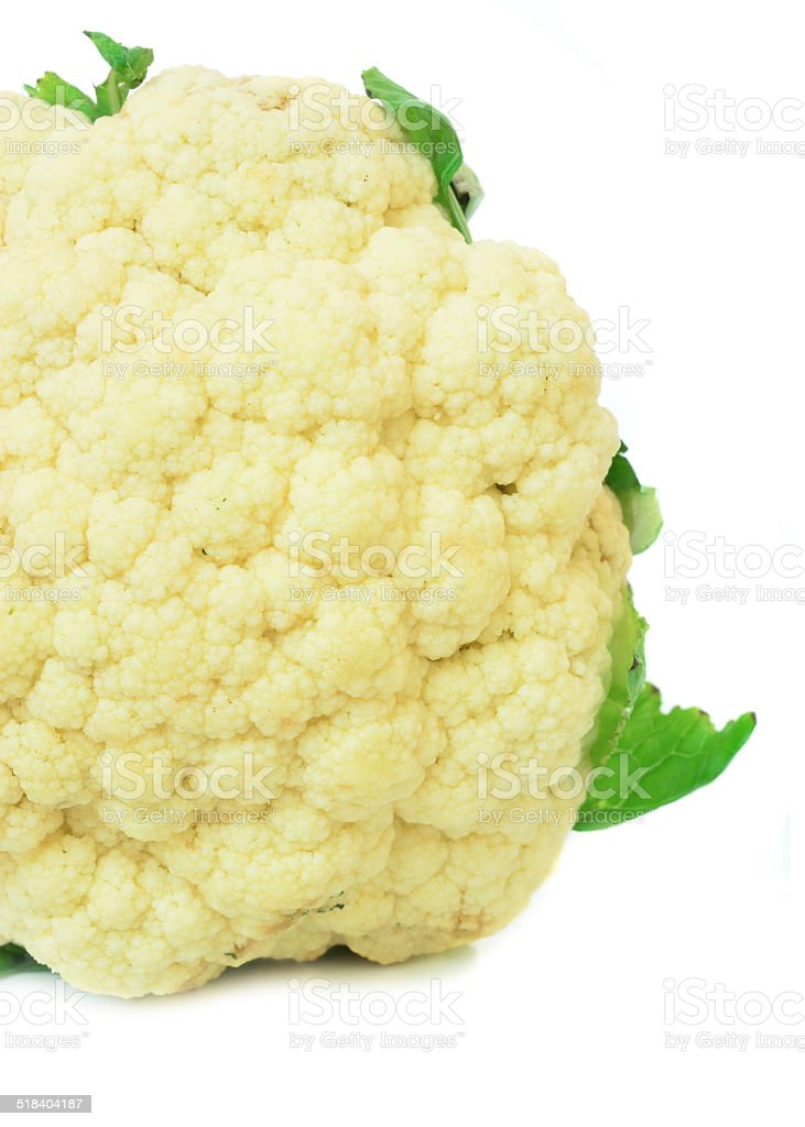 Cauliflower isolated on white background stock photo