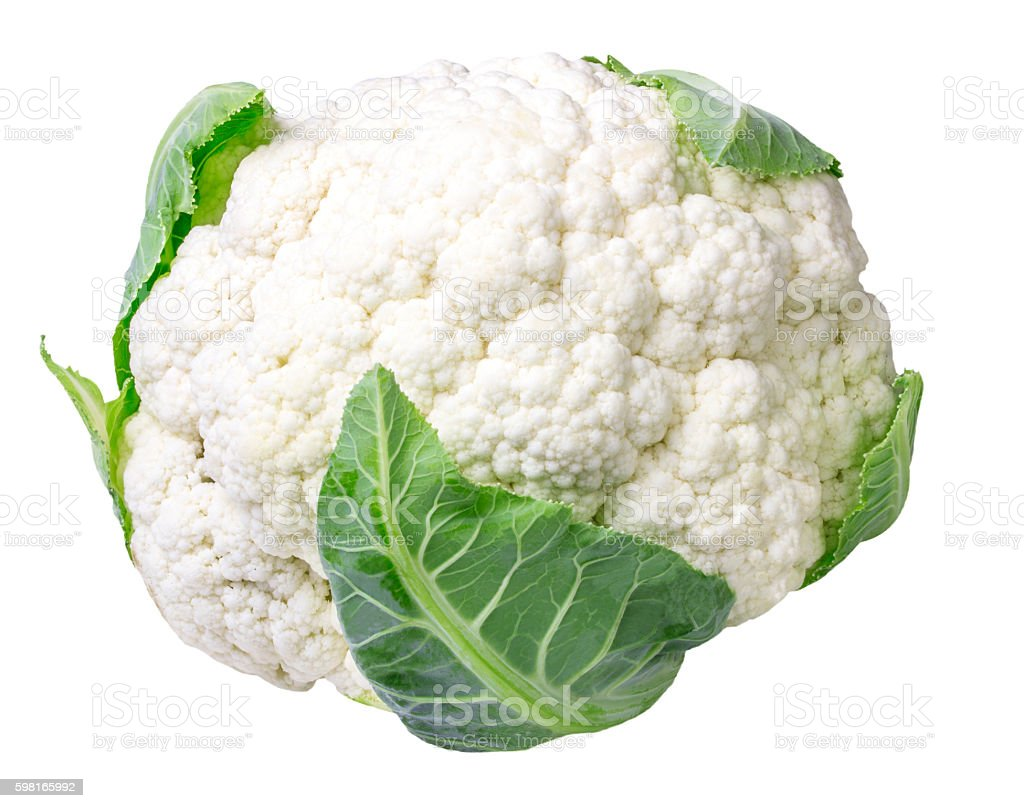 Cauliflower isolated on white stock photo