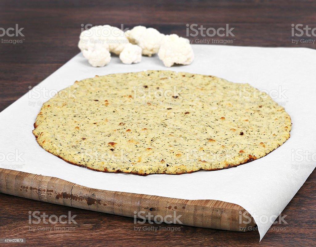 Cauliflower pizza crust stock photo