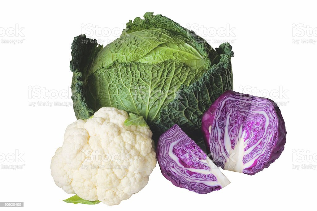Cauliflower, purple cabbage and cabbage royalty-free stock photo