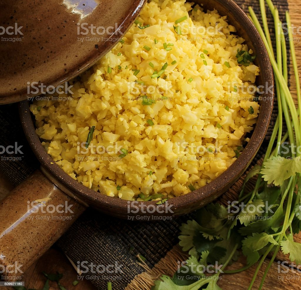 Cauliflower rice for diet stock photo