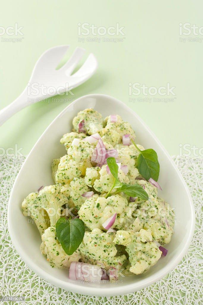 Cauliflower Salad with Spinach Pesto royalty-free stock photo