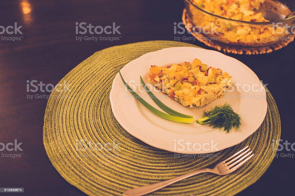 Cauliflower soufle with fresh fennel stock photo