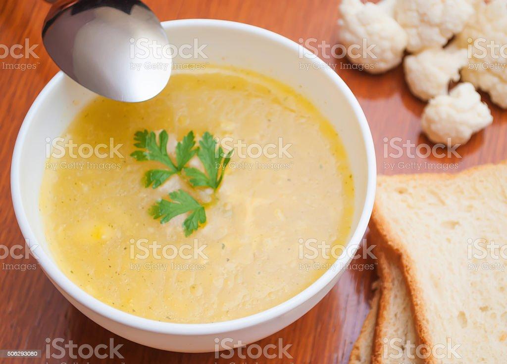 Cauliflower soup stock photo