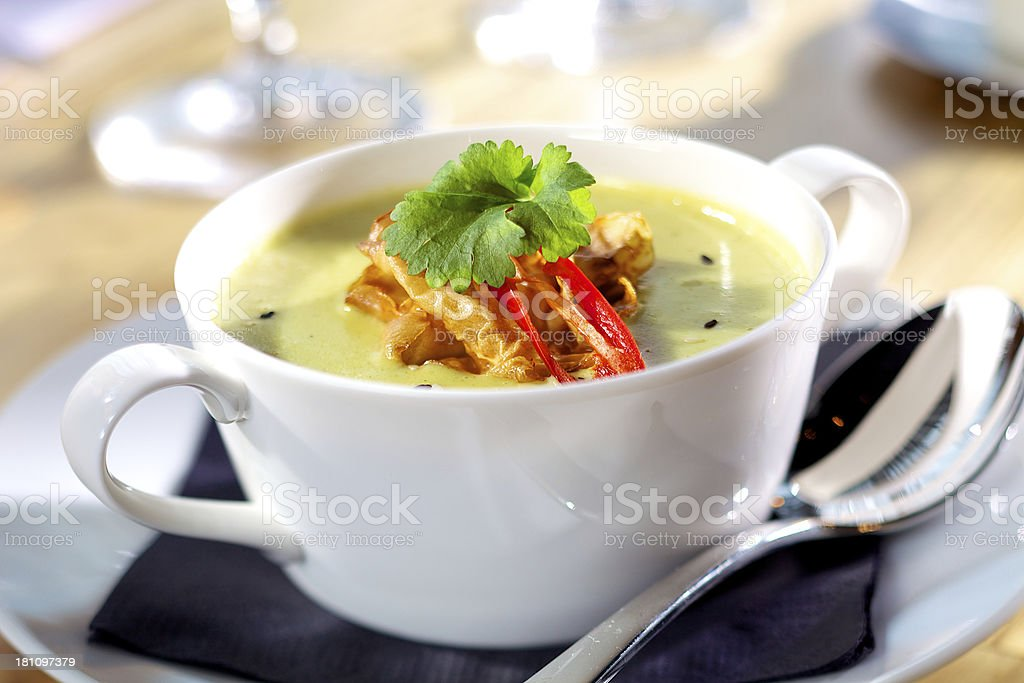 Cauliflower soup with coriander and chilli royalty-free stock photo