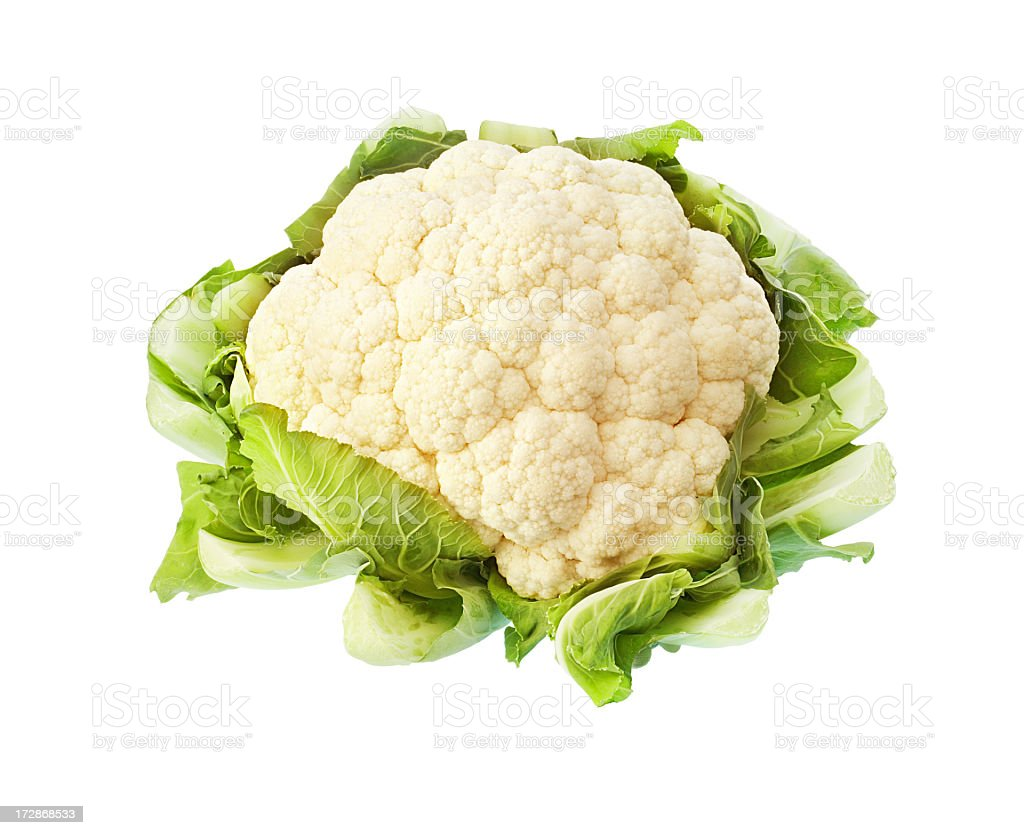 A cauliflower with foliage isolated on a white background stock photo