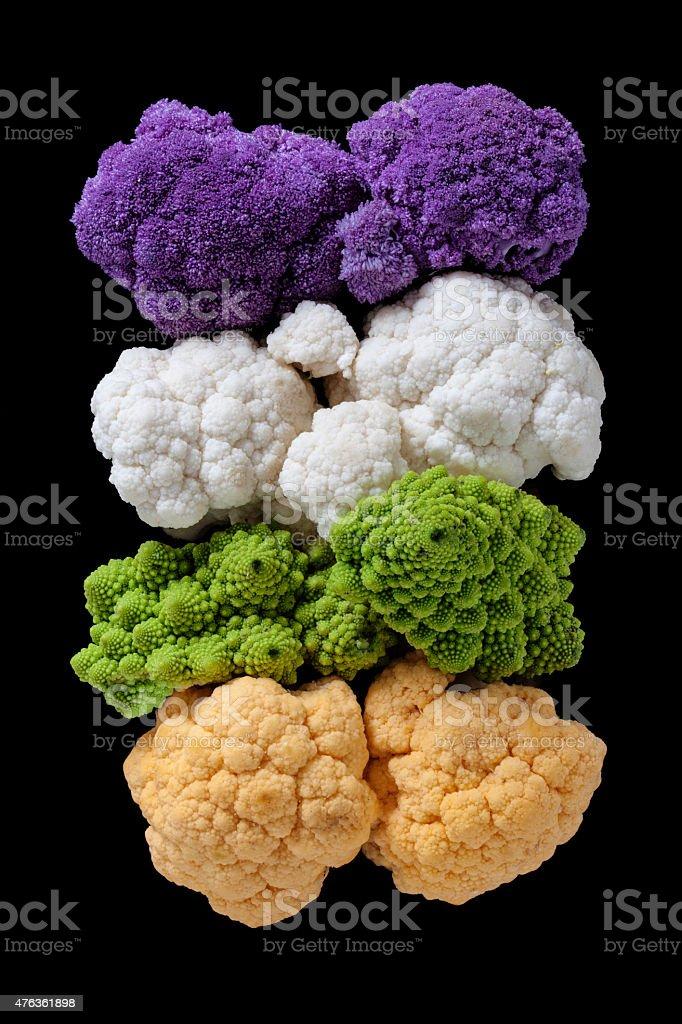 Cauliflowers rainbow stock photo