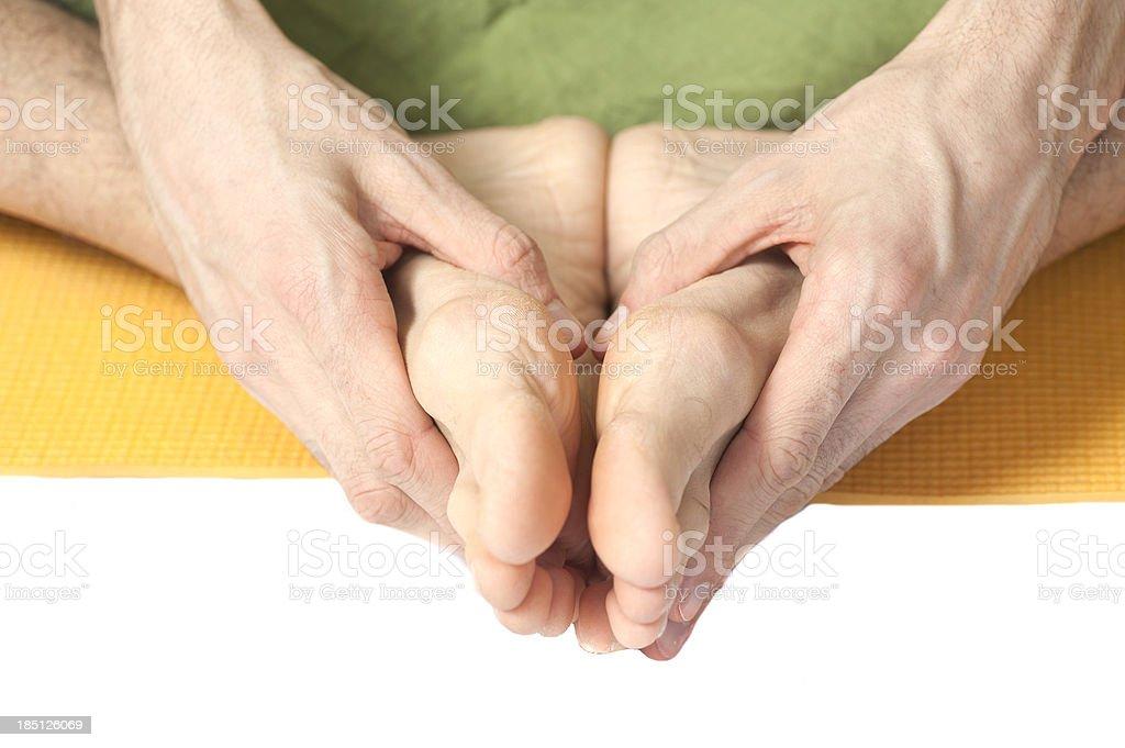 causacian yoga feets close-up stock photo
