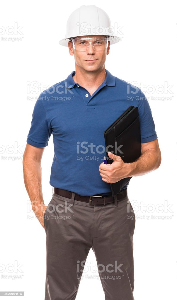 Causal Businessman Architect Engineer with Folio on White stock photo