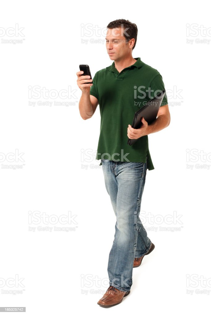 Causal Businessman  Texting with Mobile Phone Isolated on White Background stock photo