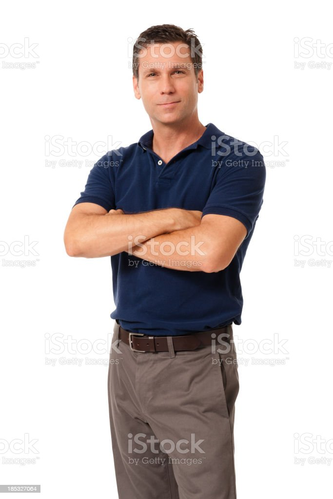 Causal Businessman with Arms Crossed Isolated on White Background stock photo