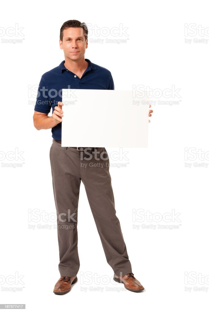 Causal Businessman with Blank Sign Isolated on White Background stock photo