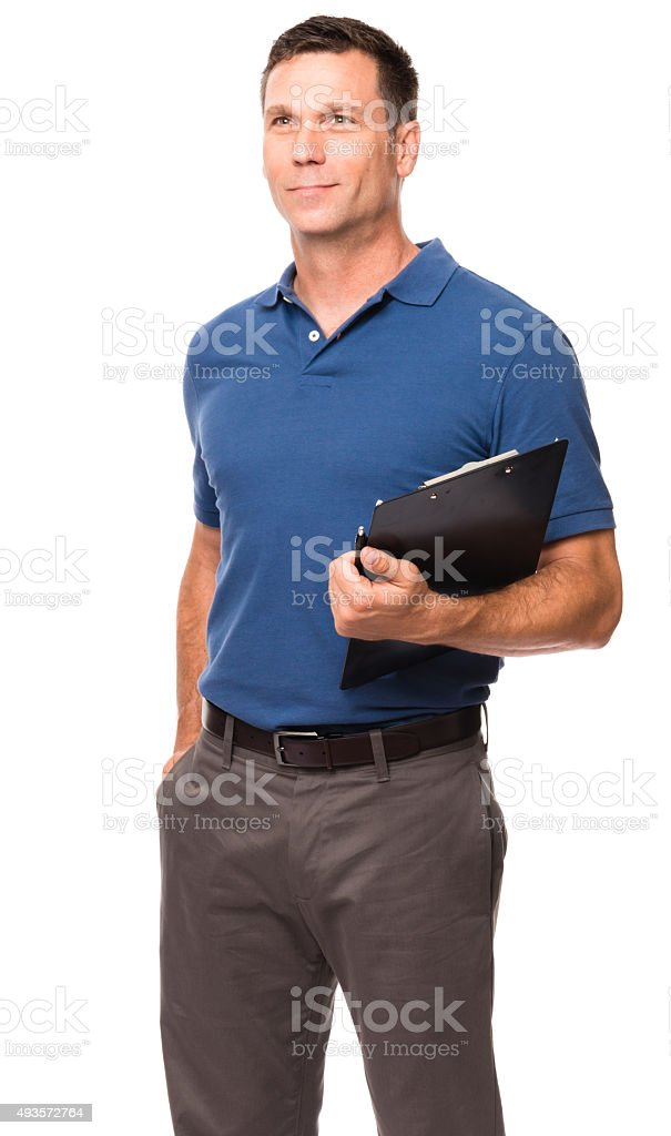 Causal Businessman with Clipboard on White stock photo