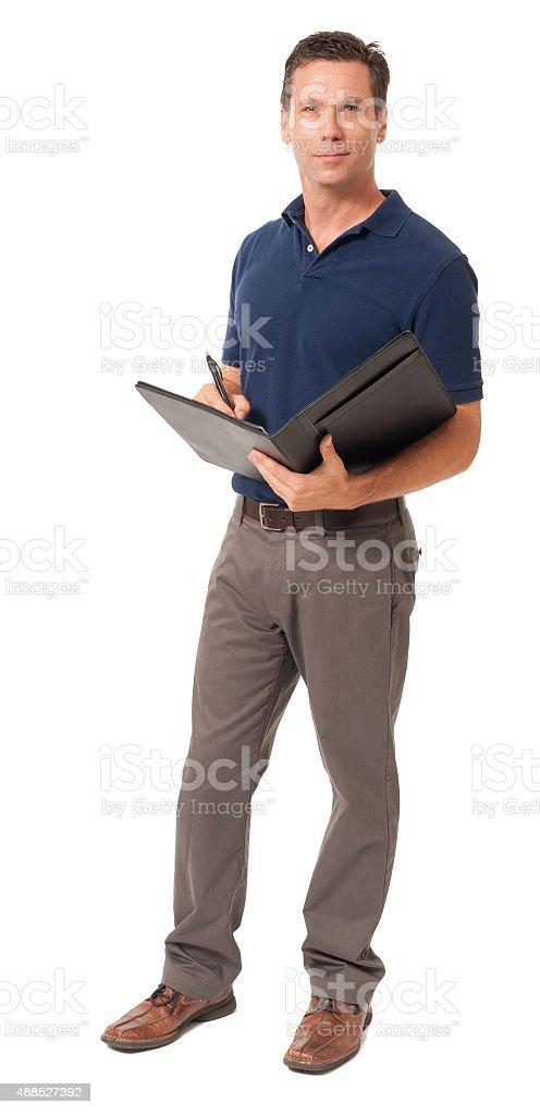 Causal businessman with folio on white stock photo