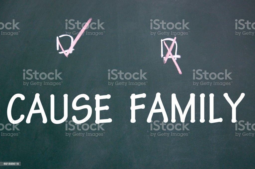 cause and family choice stock photo