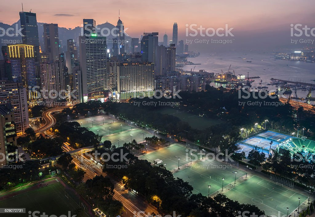 Causeway Bay at night stock photo