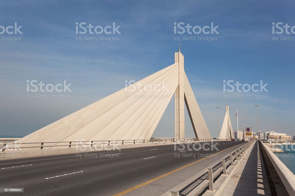 Causeway Bridge in Manama, Bahrain stock photo