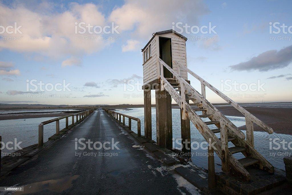 Causeway over Holy Island (Lindisfarne) stock photo