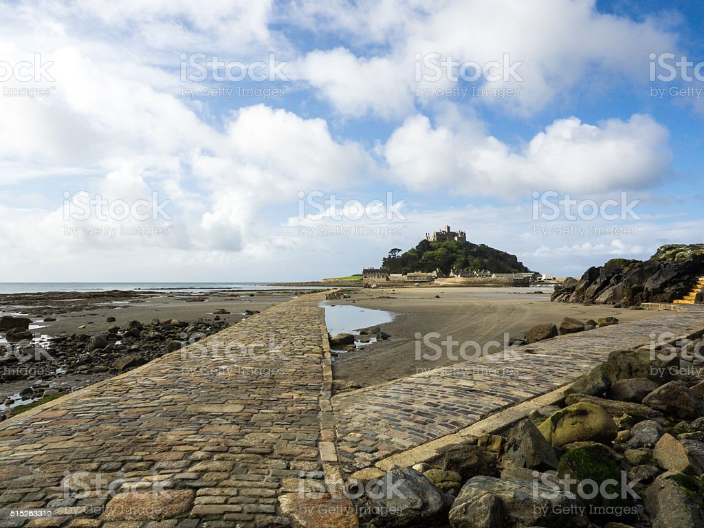 Causeway to St.Michael's mount stock photo