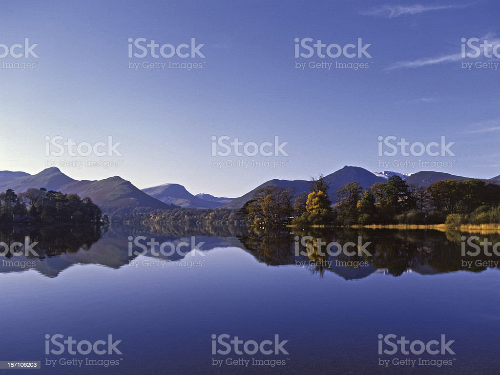 Causey Pike and Derwentwater, Lake District Cumbria stock photo