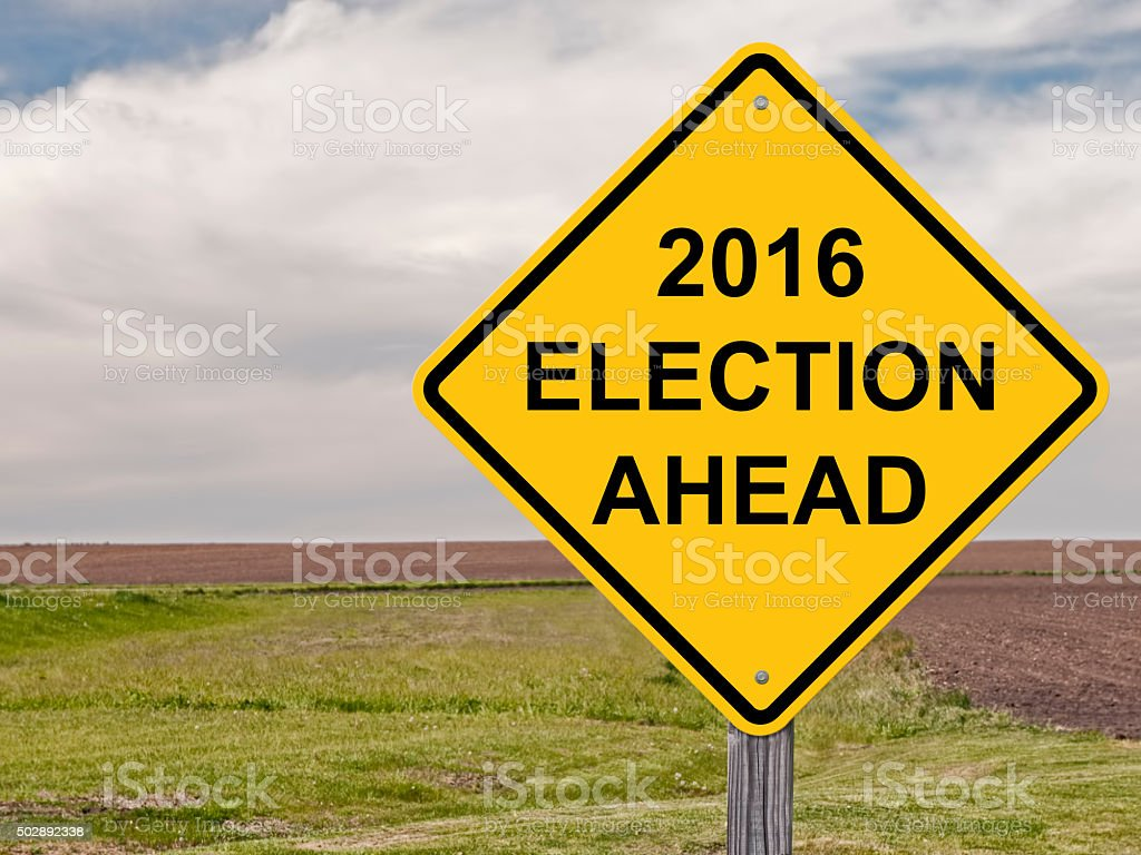 Caution - 2016 Election Ahead stock photo