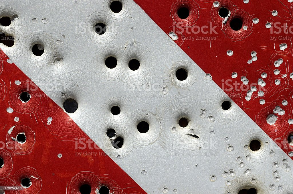 Caution: bullet holes royalty-free stock photo