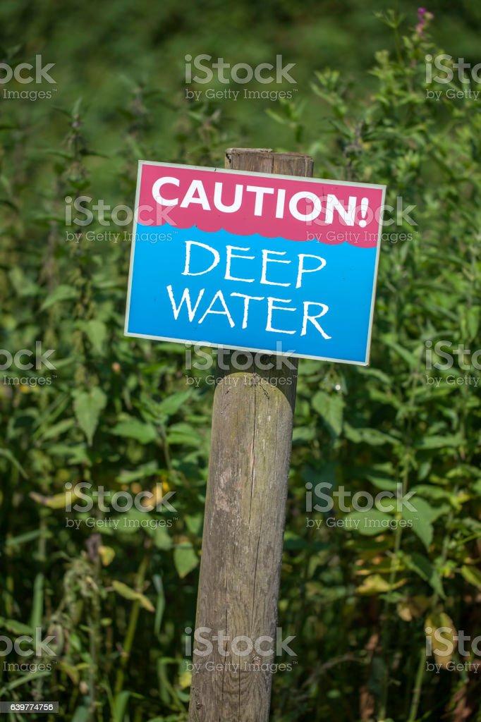 Caution! Deep Water stock photo