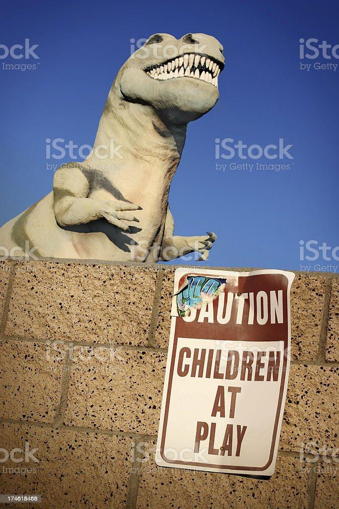 Caution Dinosaur royalty-free stock photo