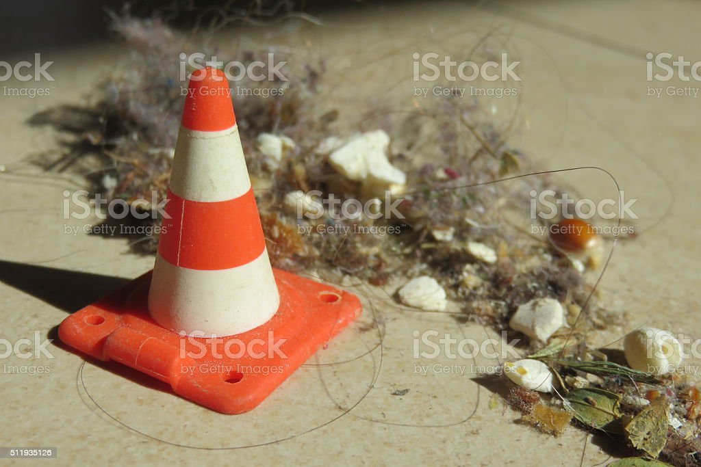 Caution - dirt, pollution and disease, stock photo