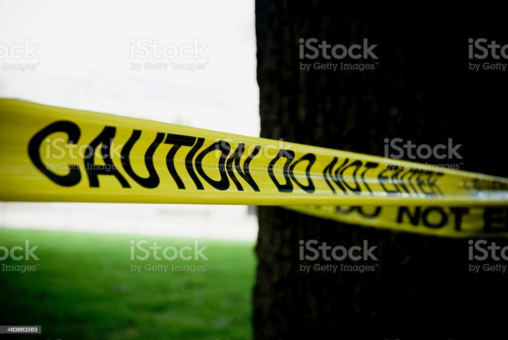 Caution Do Not Enter Tape Cordon Sign stock photo